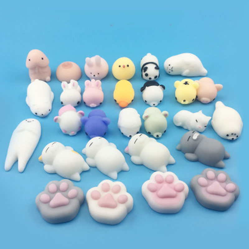 Cute Mochi Mole 54 Species Soft Focus Cure Fun Kids Kawaii Toy Animal Decoration TPR Toys Noverty Anti Stress Reliever B0902 dropshipping cute mochi squishy cat squeeze healing fun kids kawaii kids adult toy stress reliever decor