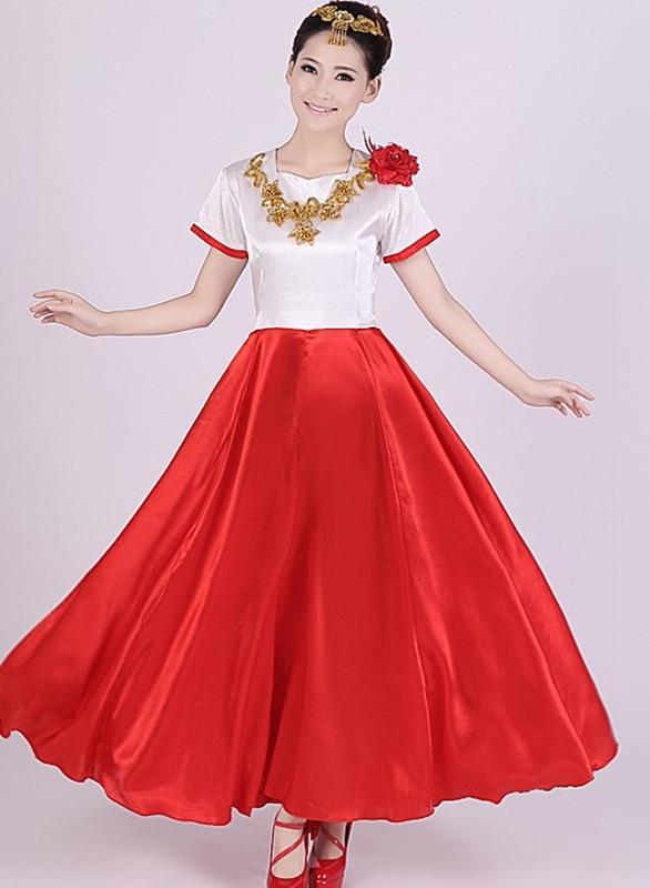 2015 New Chinese Folk Dance Custom Dance Wear Women Dress Chorus Stage Costume Opening Dance Skirt