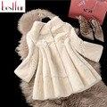 2016 Natural Rex Rabbit Fur Coat Jackets Women Waistcoat Real Furriery Coats Three Quarter Sleeve Surcoat Plus Size Hot Sale