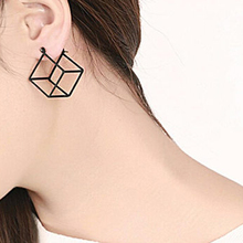 22f66a66e 2018 New Minimalist Brief Style Copper Gold/Silver/Black Filled 3D Cube  Stud Earrings