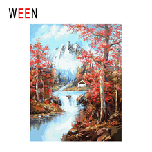 WEEN Snow Mountain Diy Painting By Numbers Abstract Brook Landscape Oil On Canvas Cuadros Decoracion Acrylic Wall Art