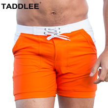 Taddlee Sexy Mens Swimwear Swimsuits Boxer Briefs Trunks Long Basic Solid