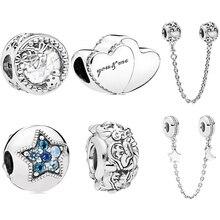 New Original Sliver Bead Star Cartoon Dragonfly Moon Love Charm Fit Pandora Bracelet Necklace DIY Women Jewelry