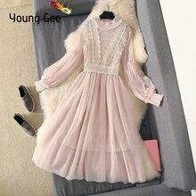 Young Gee Autumn Elegant Lace Flower Dress Women Pink Sweet Lantern Pearls Beading Sleeve Feminino Party Dress vestidos mujer