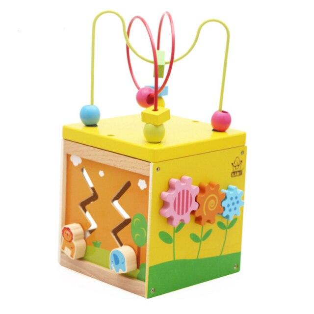 c551de3e961329 1   Baby Holz 5 In 1 Um Perlen Uhr Galerie Schatzkiste Spielzeug Blöcke  Kinder Pädagogisches