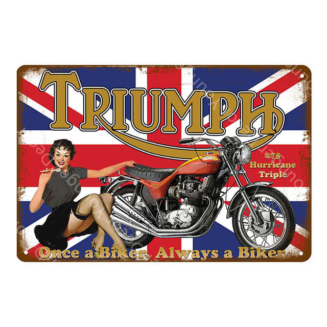 TRIUMPH MOTORCYCLE metal wall sign bike art 12x16in garage cycle shed shop room