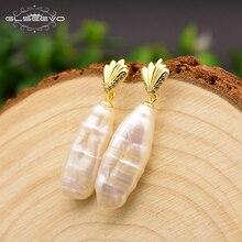 XlentAg 925 Sterling Silver Geometric V Shape Baroque Long Pearl Drop Earrings For Women Engagement Gift Fine Jewellery GE0679