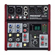 Freeboss UM-66, 4 канала, 16 цифровых эффектов, 24 бит, Dsp процессор, звуковая карта(пластина зала, задержка эха), аудио микшер