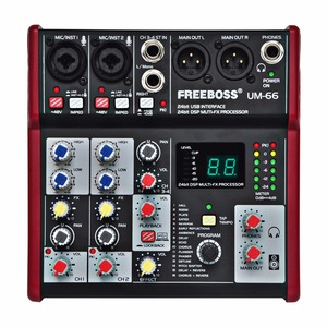 Image 1 - Freeboss UM 66 4 Channels 16 Digital Effects 24 Bit Dsp Processor Sound Card (Hall Room Plate Delay Echo) Record Audio Mixer
