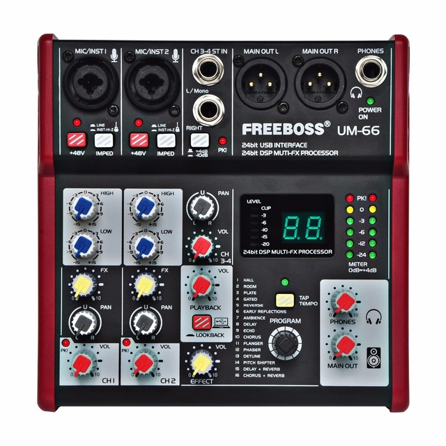 Freeboss UM 66 4 Channels 16 Digital Effects 24 Bit Dsp Processor Sound Card (Hall Room Plate Delay Echo) Record Audio Mixer