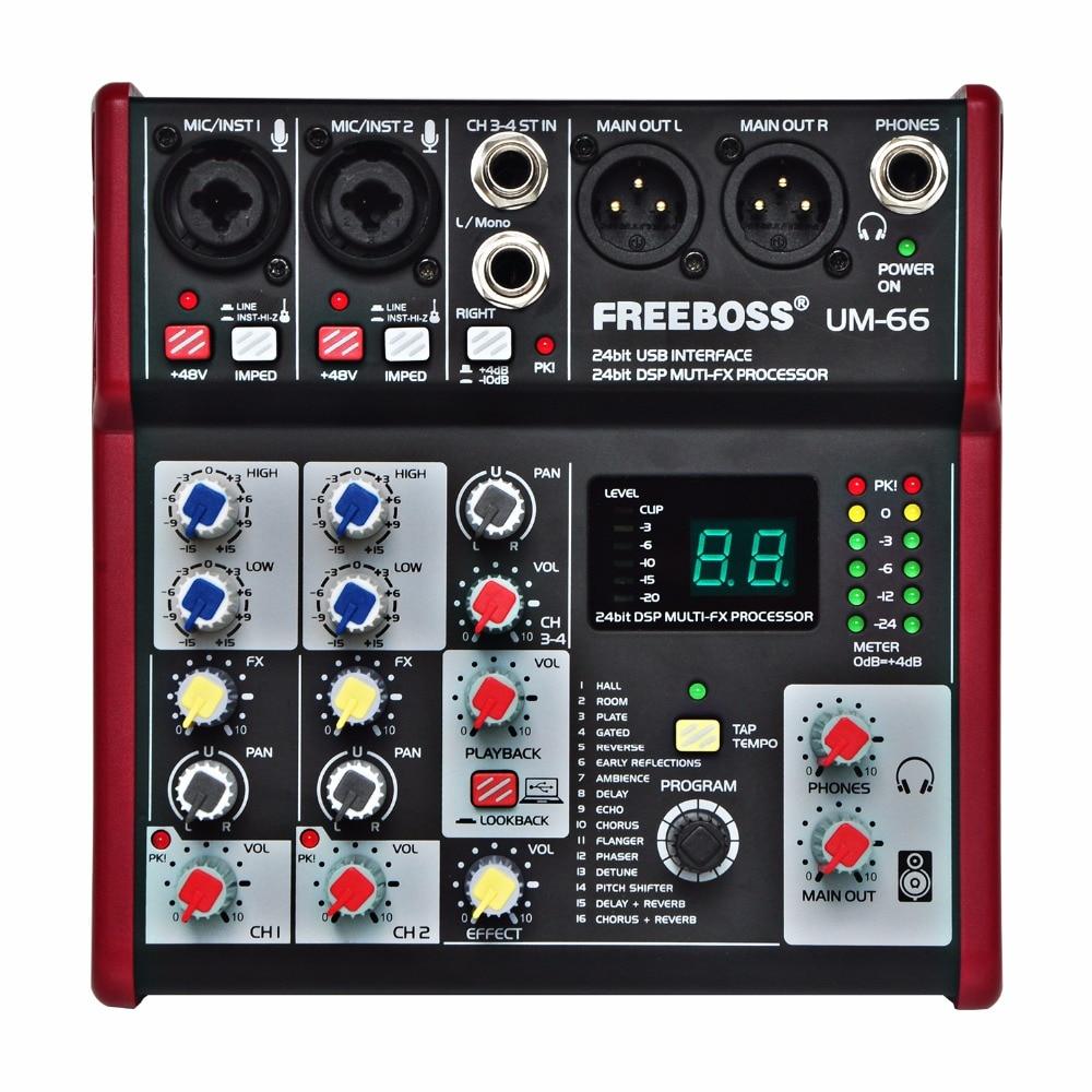 Rekord Audio Mixer Belebende Durchblutung Und Schmerzen Stoppen Freeboss Um-66 4 Kanäle 16 Digitale Effekte 24 Bit Dsp Prozessor Soundkarte halle Zimmer Platte Verzögerung Echo