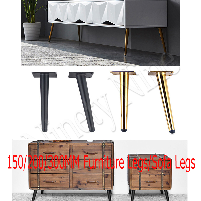 4Pcs 15-30CM Metal Furniture Table Leg Hardware Tapered Gold Cabinet Leg Sideboard Wardrobes Coffee Cone Chair Feet