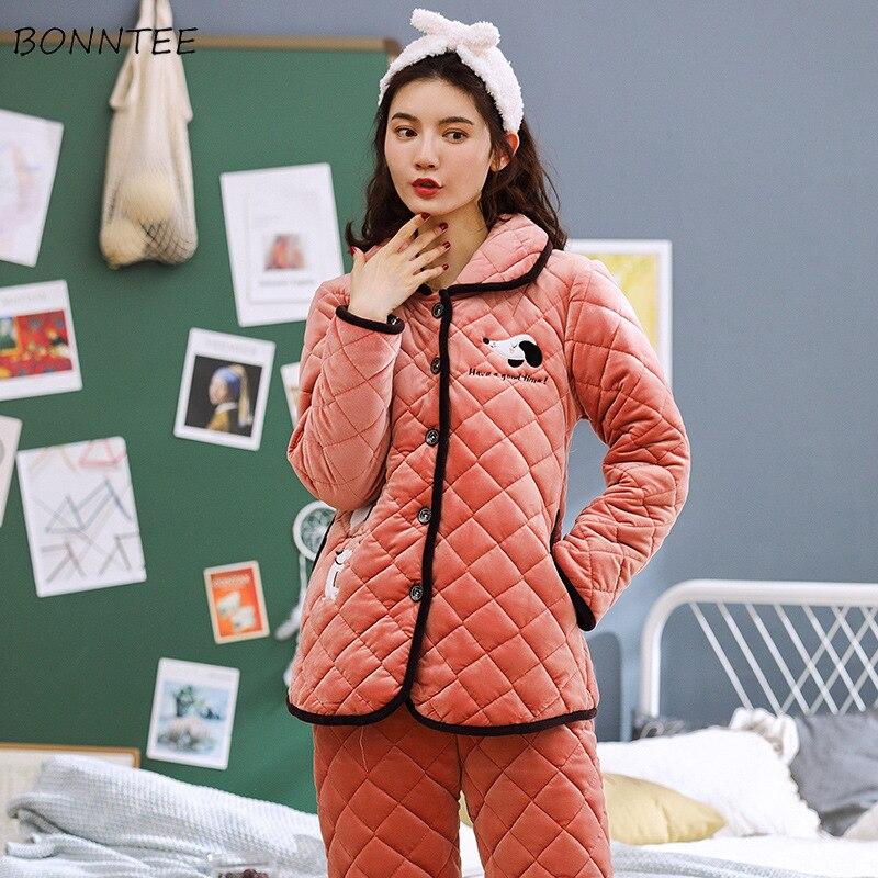 Pyjama ensembles femmes Chic élégant hiver plus épais chaud doux femmes haute qualité imprimé belle dames loisirs Long vêtements de nuit mode