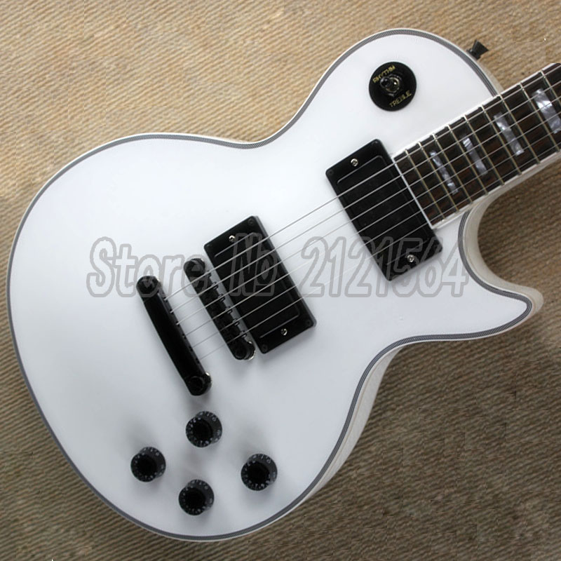 Custom Electric Guitar LP white Body Black Hardware Rosewood Fingerboard  Free Shipping best price of the white lp standard electric guitar china with bigsby rosewood fretboard guitar free shipping