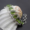 Hermosa Jewelry Fashion Mesh PERIDOT 925 Sterling Silver Bracelet 8 inch Adjustable HM113