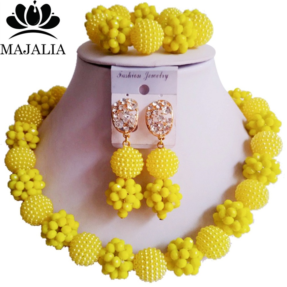 Trendy yellow Nigeria Wedding african beads jewelry set Crystal Plastic pearl necklace Bridal Jewelry Set Free shipping FC-001