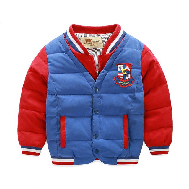 Niños otoño y el invierno largo de la manga caliente chicos abrigos niños chaqueta de invierno