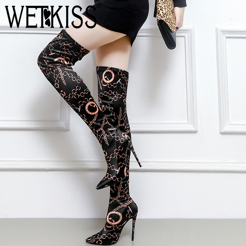 WETKISS 2018 Latest Sexy Lady Thigh High Boot Colored Stretch Woman Over Knee Boot Stilettos High Heels Shoes Women Pointy Boot цена
