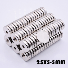 10Pcs 25x5 mm Neodymium Magnet Ring Hole 5mm search magnet Strong Magnets N35 super powerful neodymium magnets free shipping