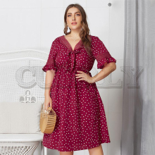 CUERLY Plus size dot print women dress Elegant bow tie v-neck female midi dress Ruffled short sleeve lace hem high waist dress plus tie waist dot print off shoulder dress