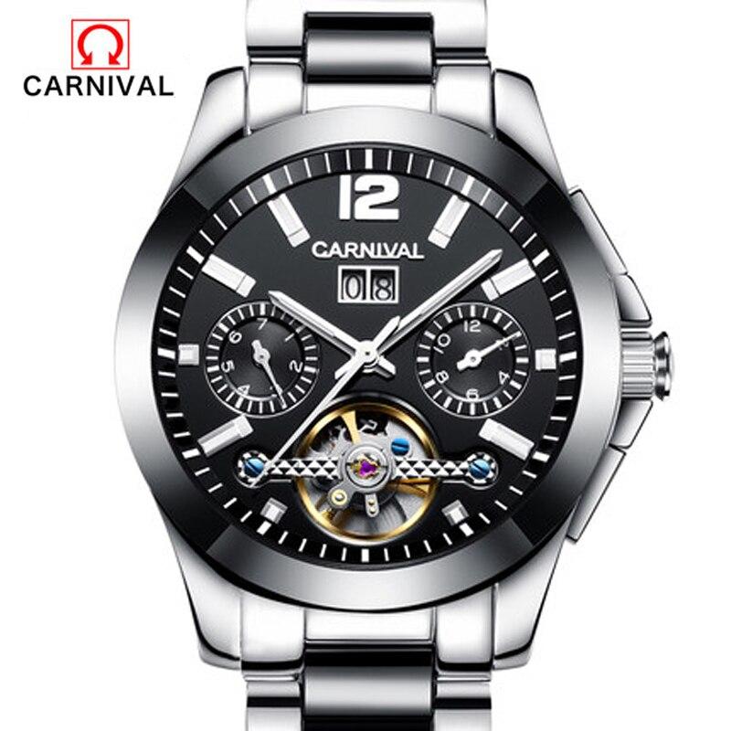 Carnival men watches full automatic mechanical watch fashion ceramic strap waterproof luminous male watch Tourbillon carnival ceramic pair watch men and women 100