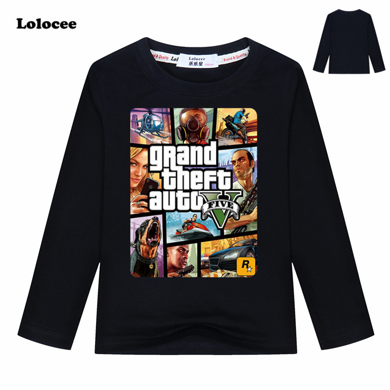 Brand New GTA Spring Autumn Clothes Kids Long Sleeve Tops Tees Children Games Cartoon T Shirt for Boys Cotton Clothing 3-13y new hot sale 2016 korean style boy autumn and spring baby boy short sleeve t shirt children fashion tees t shirt ages