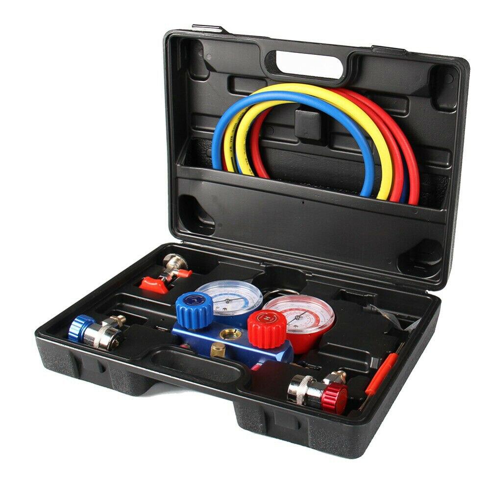 Ensemble de jauge de collecteur automatique A/C R134a outil d'essai de système de refroidissement de jauge d'addition de Feron de réfrigération de climatiseur