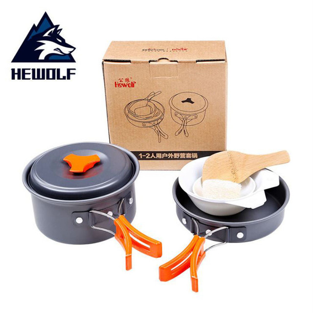 Hewolf 6pcs/set 1-2 People Aluminmum Portable Outdoor Camping Hiking Cookware Backpacking Cooking Picnic Bowl Pot Pan Kits