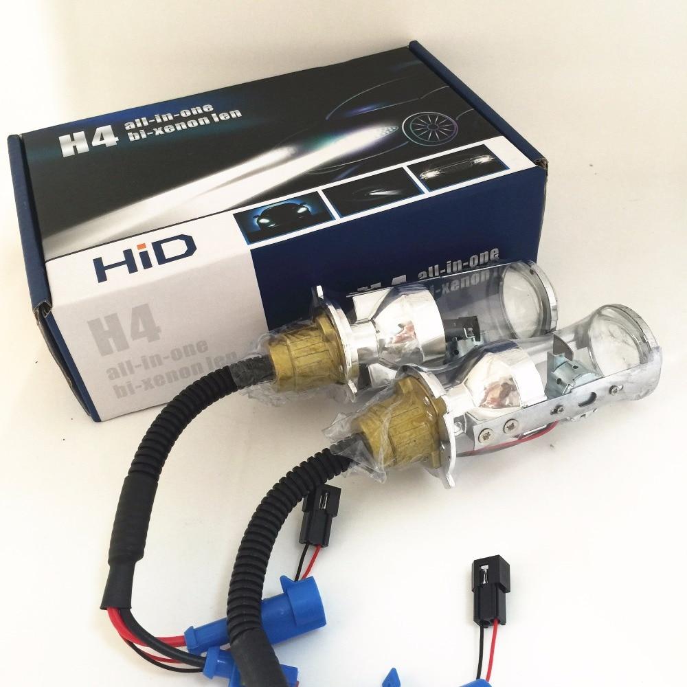 2x35 W Automobile H4 9003 HB2 Salut/Lo Faisceau Projecteur Projecteur lentille HID XENON Remplacement De Phare de Lumière de Brouillard DRL Lampe Ampoule blanc