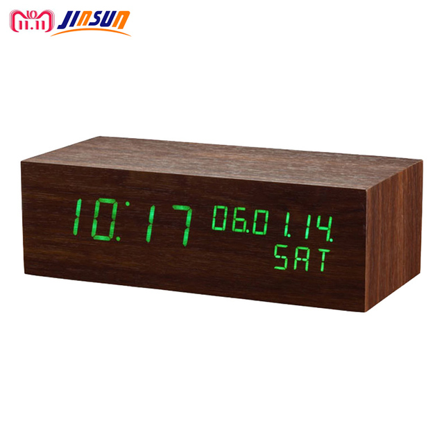 e725a07bb4d JINSUN Moderno sensor de Madeira Relógio display led Duplo Relógio digital  Led Alarm Clock Temp Show