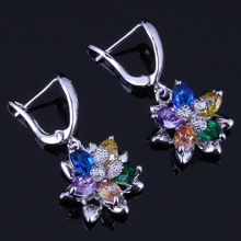 Cute Flower Multigem Multicolor Yellow Cubic Zirconia 925 Sterling Silver Drop Dangle Earrings For Women V0755