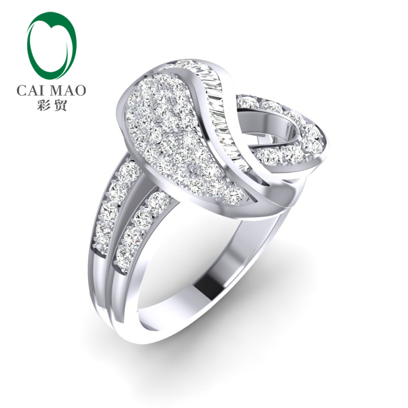 Caimao Pave Setting 14K White Gold 0.7ct Natural Diamond Wedding Band Ring