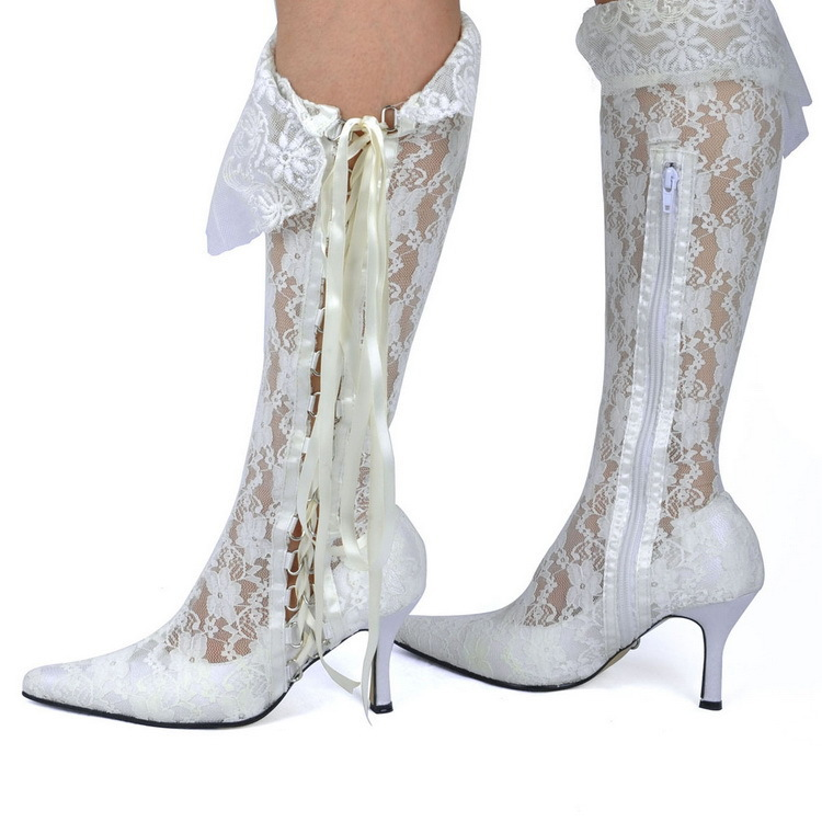 Elegant Women White Wedding Lace Boots Versatile Closing Methods Fashion  Lace up Side Zip Vintage Wedding Boots-in Knee-High Boots from Shoes on ... 4f6f2c8d8fa1