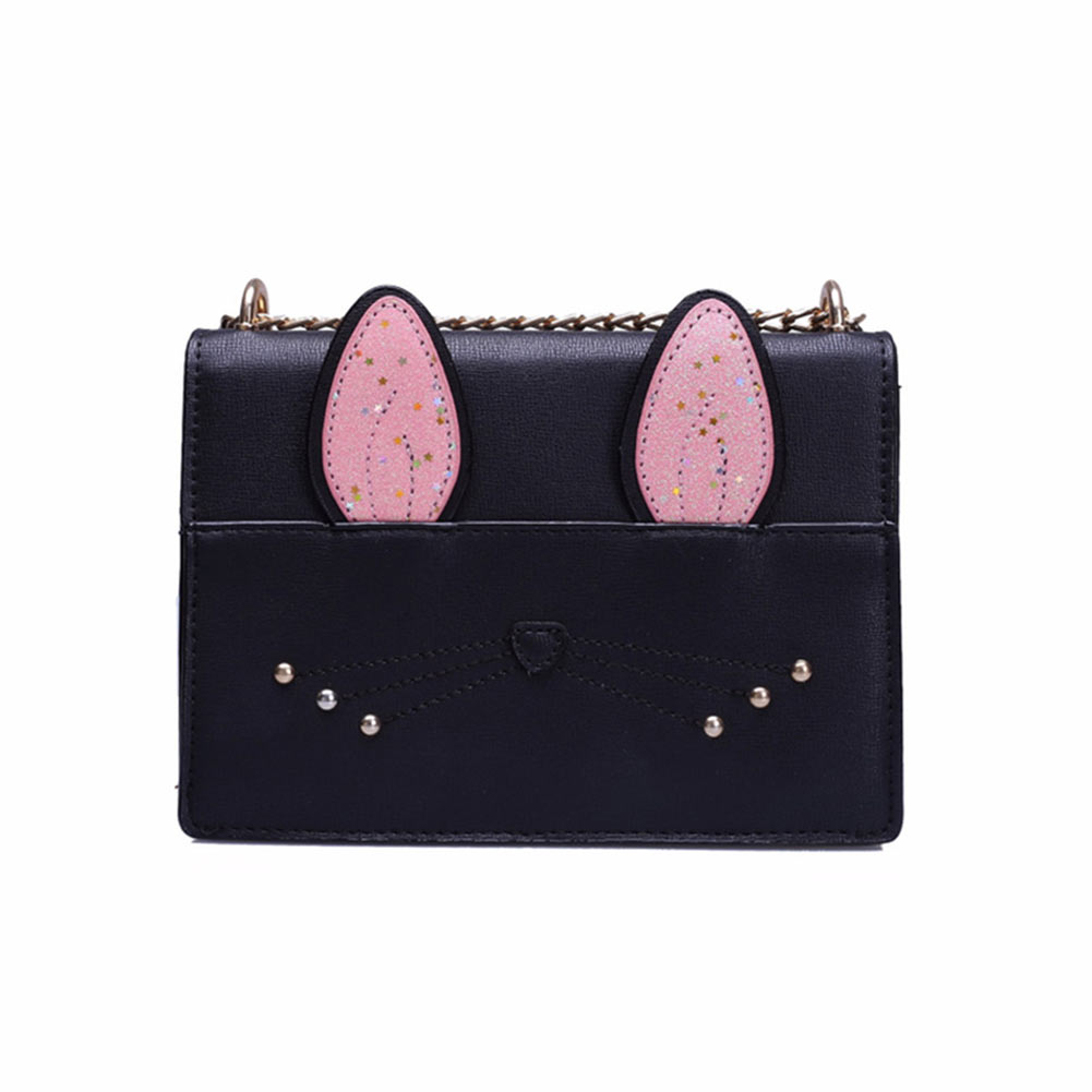 Fashion Women Shoulder Bag PU Leather Chain Ladies Cartoon Cat Ears Decoration Sweet Girl Causal Messenger Bags 88 New
