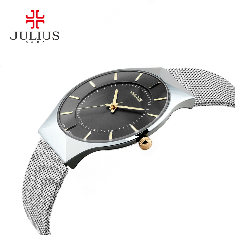 JULIUS Thin Silver Black Men Mesh Stainless Steel Quartz Wristwatches Fashion Casual Watch Relogio Feminino Simple Fashion Clock