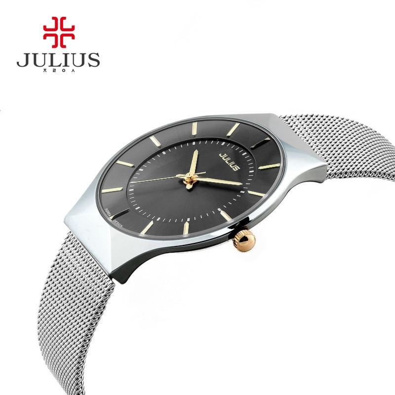 JULIUS Thin Silver Black Men Mesh Stainless Steel Quartz Wristwatches Fashion Casual Watch Relogio Feminino Simple Fashion Clock