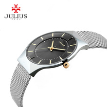 JULIUS Thin Silver Black Men Mesh Stainless Steel Quartz Wristwatches Fashion Casual Watch