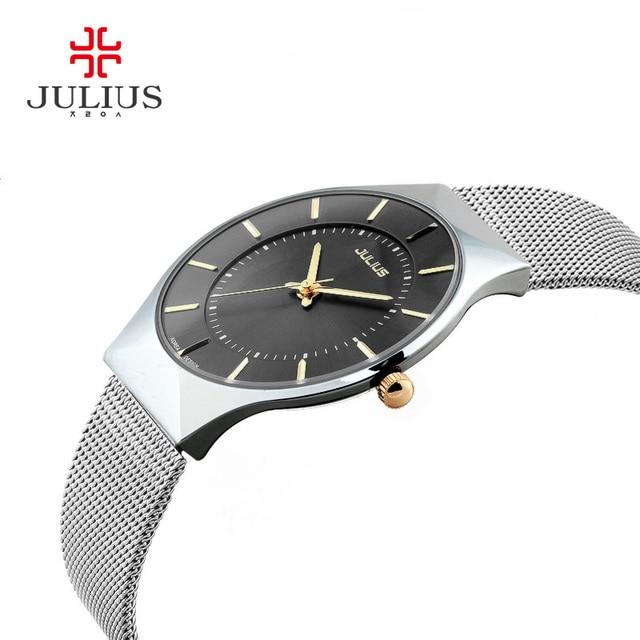 de719c34694 Julius homens malha fina de prata preto de aço inoxidável relógios de pulso  de quartzo moda