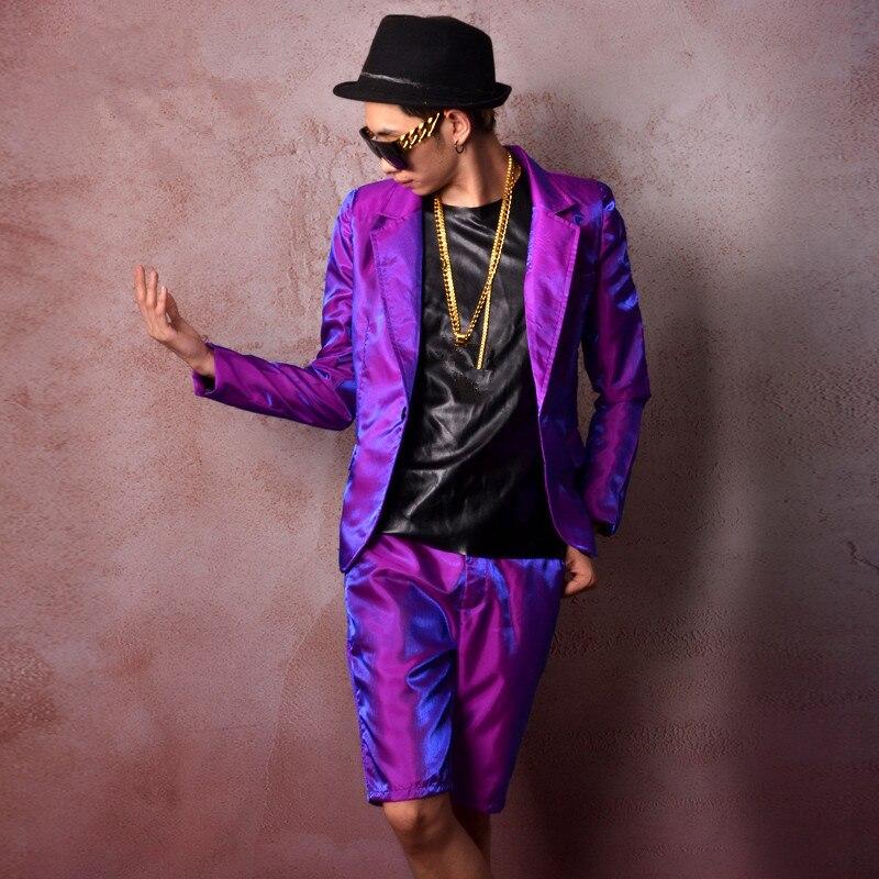 De Manteau Mince veste Purple Danseur Hommes Bal Partie D'exécution Costume Pourpre D'étape Costumes Afficher Lumineux Pantalon Chanteur Blazers Ds Parti Tenue paqwOatA