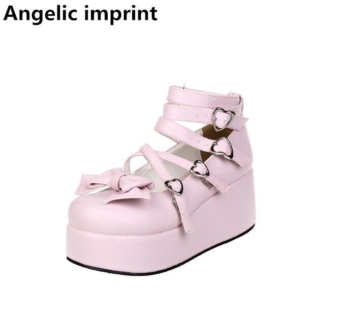 Angelic imprint handmade new woman mori girl lolita cosplay shoes lady high trifle heels pumps women