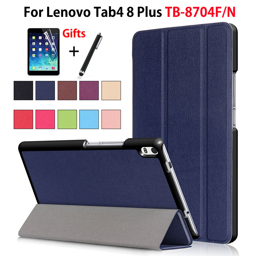 Cover Case For Lenovo Tab4 8 Plus TB-8704X TB-8704F TB-8704N Smart Cover Funda Tablet PU Leather Flip Stand Skin Shell +Film+Pen ynmiwei for miix 320 leather case full body protect cover for lenovo ideapad miix 320 10 1 tablet pc keyboard cover case film