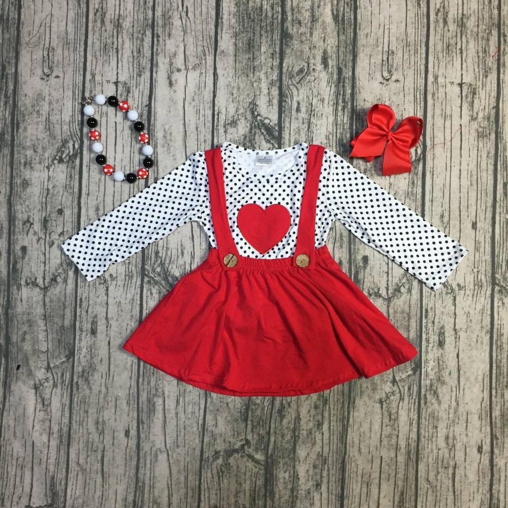 f4e76523f57e Aliexpress.com : Buy 6 designs Fall/winter baby girls Valentine's day  clothes children top with suspender skirts 2 pieces sets with accessories  from ...