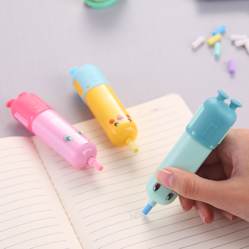 1 PC Cartoon Anime Battery Operated Eraser  Electric Eraser Automatic School Stationery Supplies Child Toy Gift Material Escolar