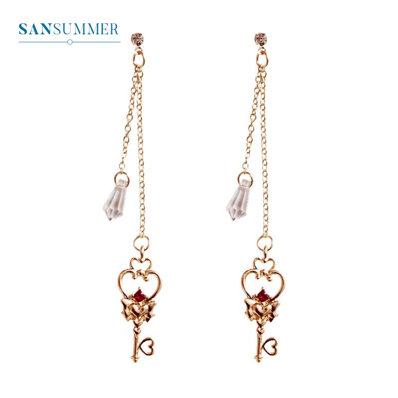 Romantic Love Key Stud Earrings Simple Rhinestone Women Jewelry Bijoux Oorbellen Wedding Party Gift Aretes De Mujer Jewelry in Stud Earrings from Jewelry Accessories