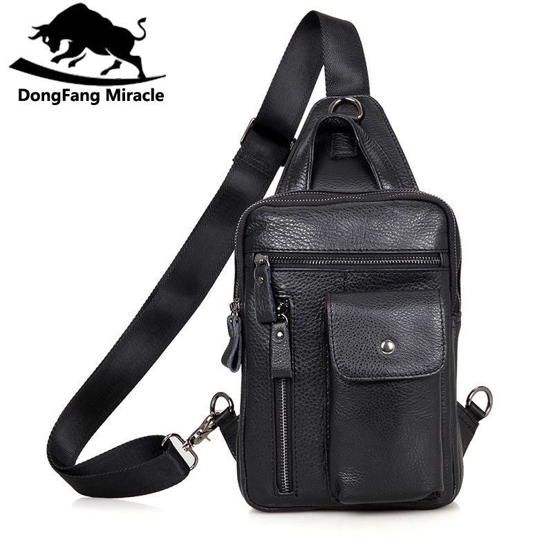 Brand Bag Men Chest Pack Single Shoulder Strap Back Bag Genuine Leather Travel Men Crossbody Bags Vintage Rucksack Chest Bag