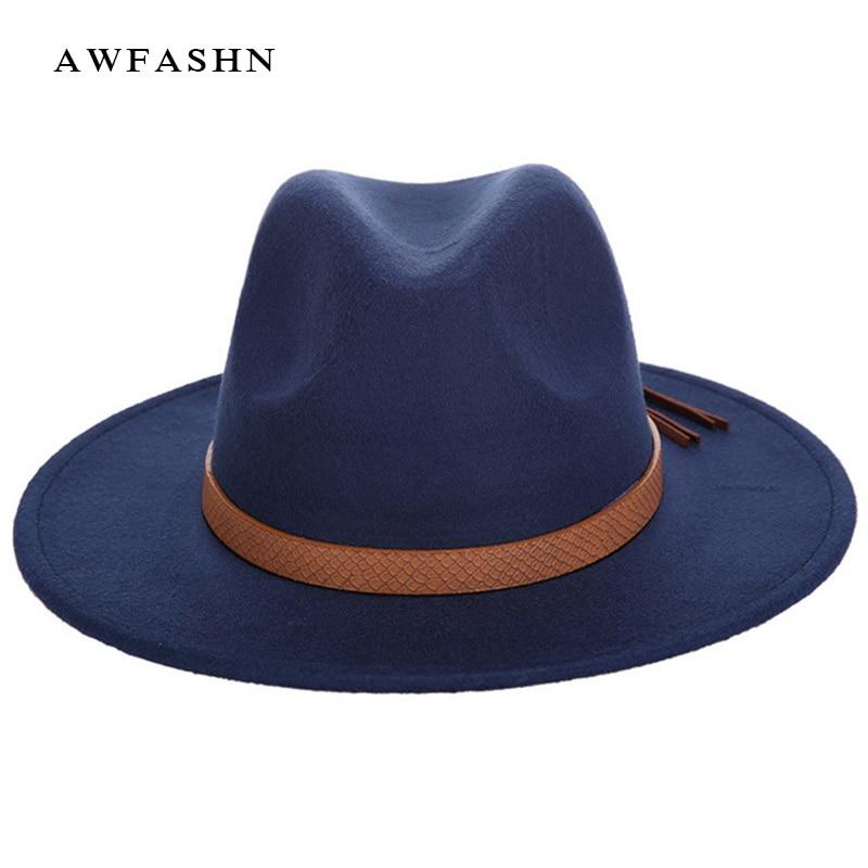 De moda caliente Fedora de lana de invierno mujer hombre fieltro Sombrero  de ala ancha de sombreros Vintage gran Sombrero de Jazz al aire libre hueso 7213aca2d3a