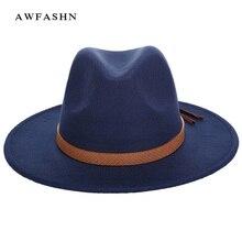 d26293d4ef270 De moda caliente Fedora de lana de invierno mujer hombre fieltro Sombrero  de ala ancha de sombreros Vintage gran Sombrero de Jaz.