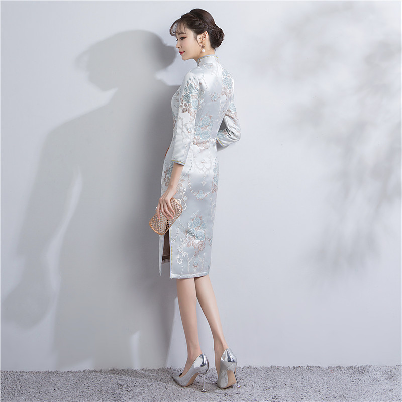 216f69dbcfa1 Vestido 1855 Cheongsam Mujer 1856 4 Satén 3 Estilo Manga Shanghai ...