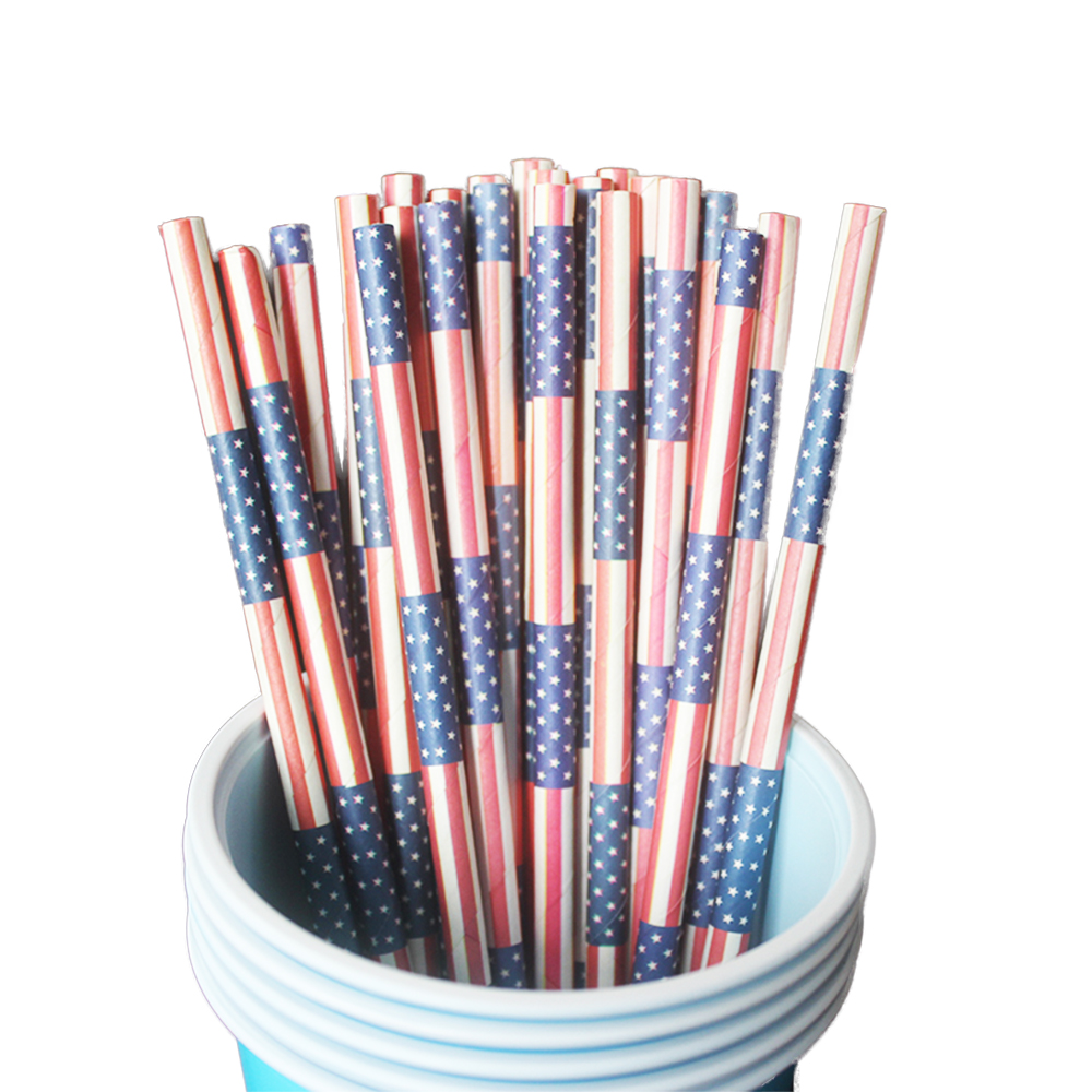 Big happy birthday badges party products party delights - Zljq 25pcs American Flag Partten Paper Straws For Happy Birthday Table Decoration Festival Event Party Decor