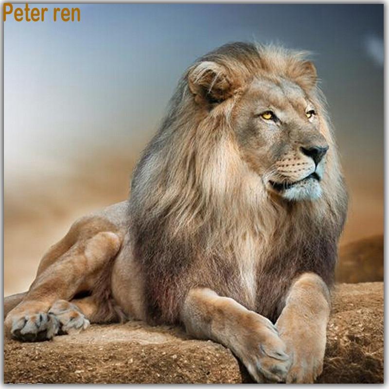 Peter ren DIY Elmas boyama Uyku Aslan tam kare matkap duvar dekor - Sanat, el sanatları ve dikiş